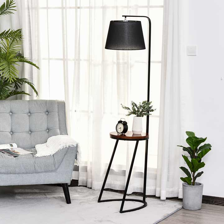 HOMCOM 165cm Unique Floor Lamp And Middle Wood Shelf Industrial Style Brown Black