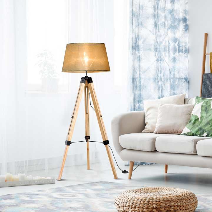 HOMCOM Classic Tripod Wooden Floor Lamp with Adjustable Height Cream White