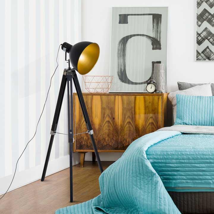 HOMCOM Stand Floor Lamp Tripod Light Livingroom Studio Dome Shade Retro Style