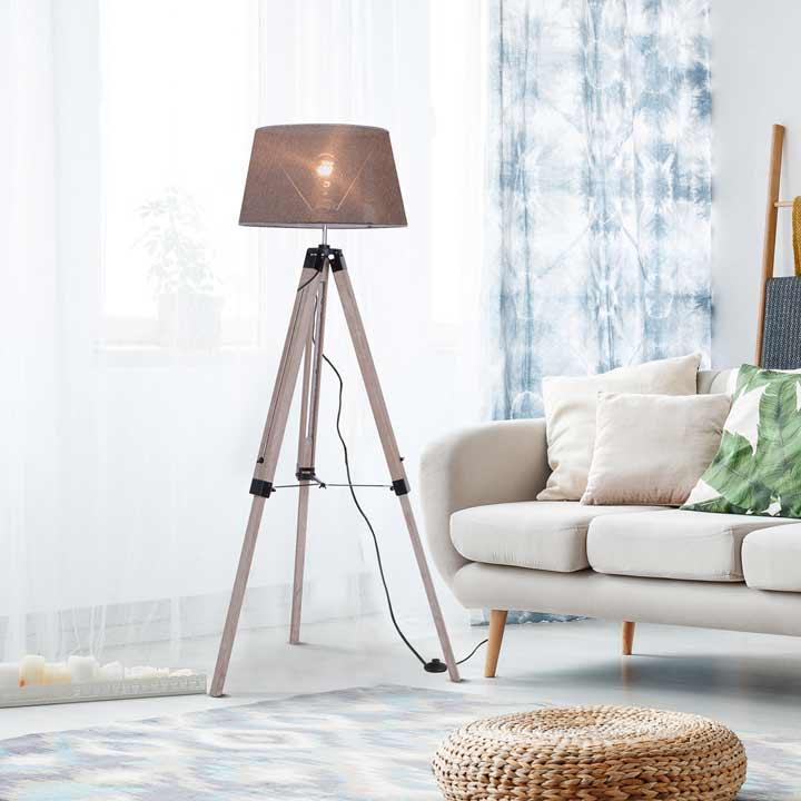HOMCOM Free Standing Floor Lamp Bedside Light Tripod Holder Fabric Shade Grey