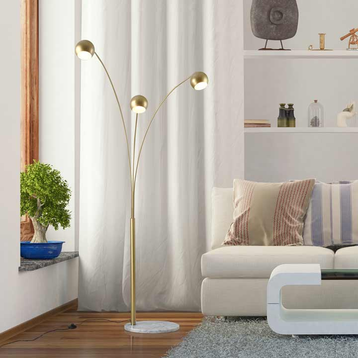 HOMCOM 198cm 3 Branch Futuristic Floor Lamp Metal Frame With Marble Base Gold