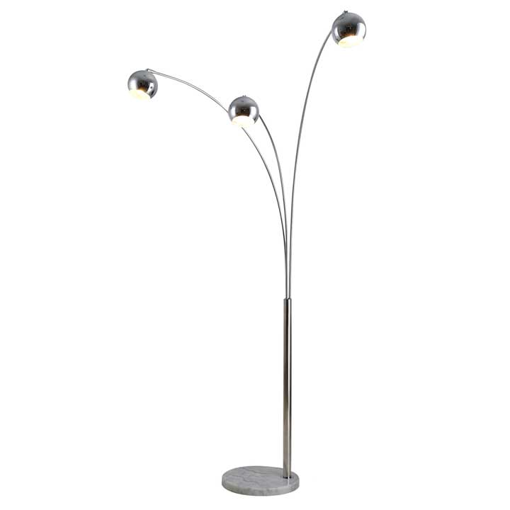 HOMCOM 198cm 3 Branch Futuristic Floor Lamp Metal Frame With Marble Base Silver