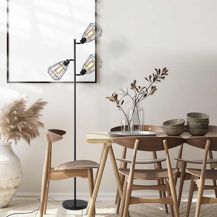 HOMCOM Industrial Steel Birdcage Floor Lamp With 3 Lights Round Base Switch Black