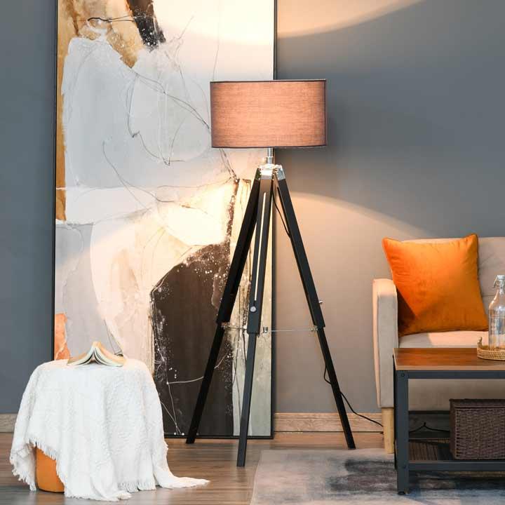 HOMCOM Tripod Base Floor Lamp with Wood Leg Height Adjustable Home Office