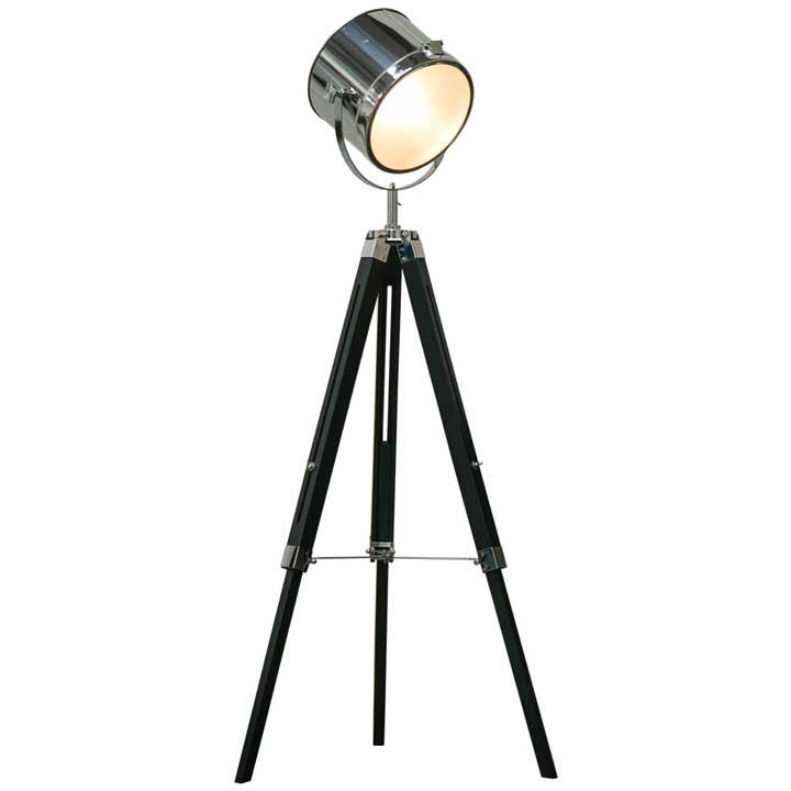 HOMCOM Industrial Style Adjustable Tripod Floor Lamp Searchlight Reading Lamp