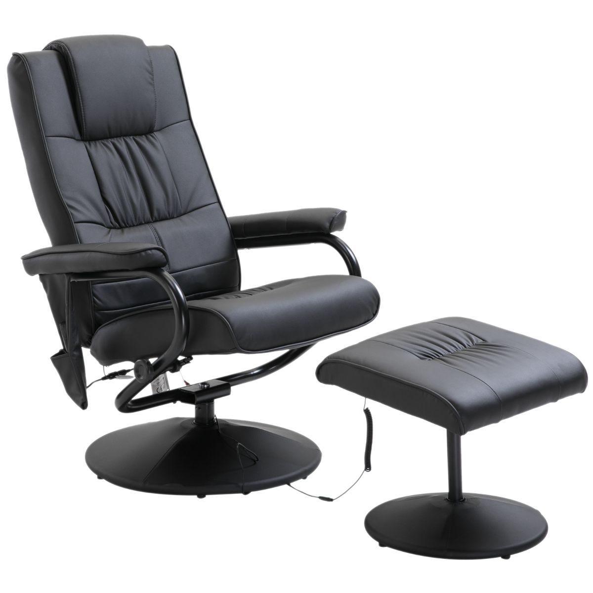 HOMCOM Electric Massage Chair Sofa Recliner Foot Stool 10 Point Massager Ergonomically