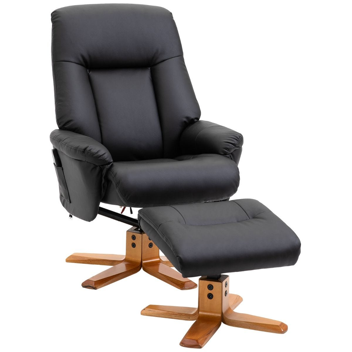 HOMCOM 10 Point Massage Sofa Armchair With Ottoman Heat Recliner Faux Leather Black