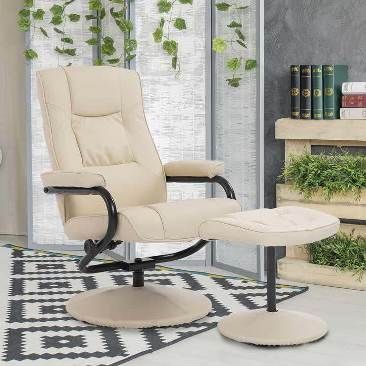 HOMCOM Recliner Chair Swivel Armchair Lounge Seat With Footrest Stool Ottoman
