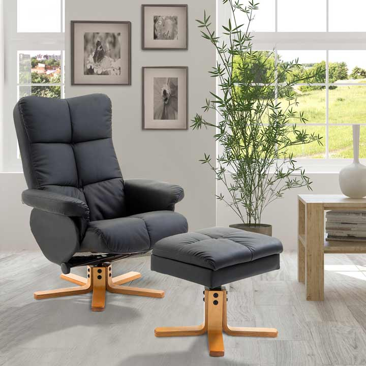 HOMCOM Wooden Recliner Chair Armchair Lounge Faux Leather Ottoman Footrest Black