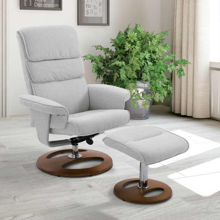 HOMCOM Recliner Chair Ottoman Set 360 Degree Swivel Sofa Wood Base Grey