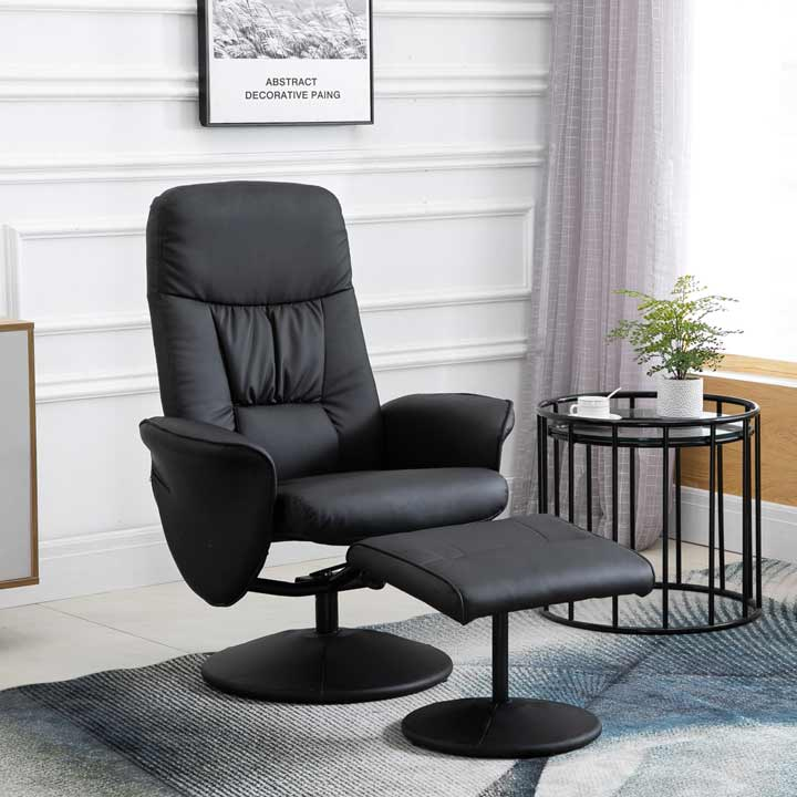 HOMCOM Faux Leather 2 Pcs Reclining Armchair With Ottoman 360 Degree Swivel Home Furniture