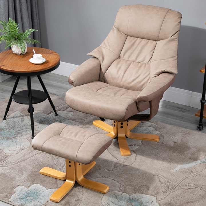 HOMCOM Recliner Armchair Footstool Duo Vintage Wood Base Home Micro Fiber Brown