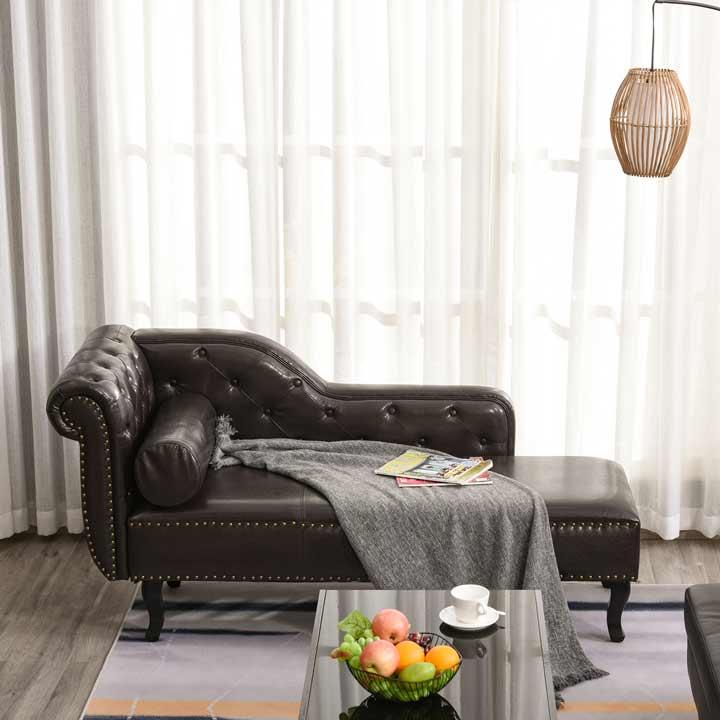 HOMCOM Chaise Longue Designer Vintage Faux Bolster Cushion Sofa Bed