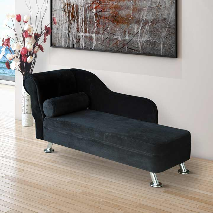 HOMCOM Deluxe Velvet Chaise Longue Lounge Sofa Day Bed With Bolster Cushion Black New