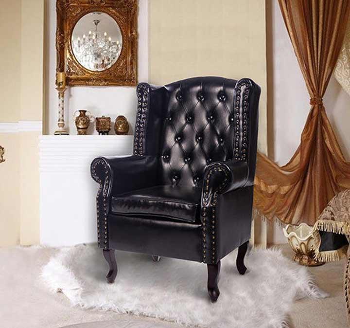 HOMCOM High Back Chair Sofa Armchair Great Soft Padded Leather Cushion Black