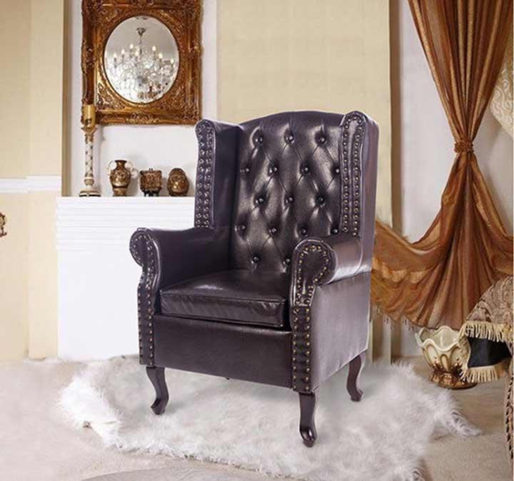 HOMCOM High Back Chair Sofa Armchair Footstool Ottoman Leather Cushion Brown
