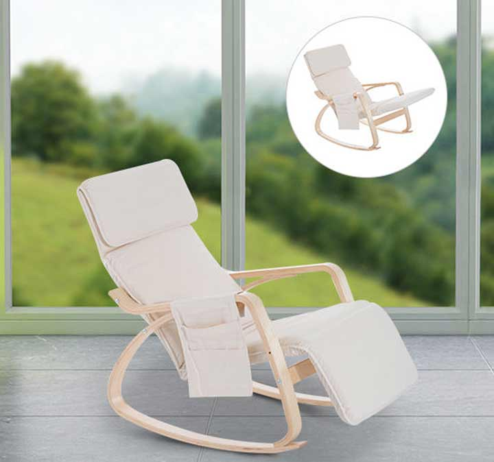 HOMCOM Rocking Chair Recliner Armchair Adjustable Footrest Side Pocket Cream White