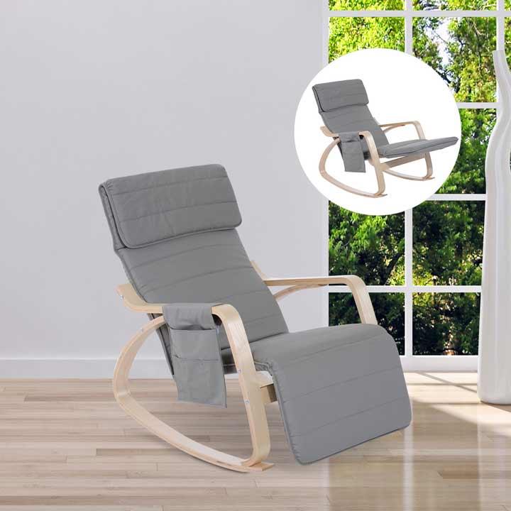 HOMCOM Rocking Chair Recliner Armchair Adjustable Footrest Side Pocket Light Grey