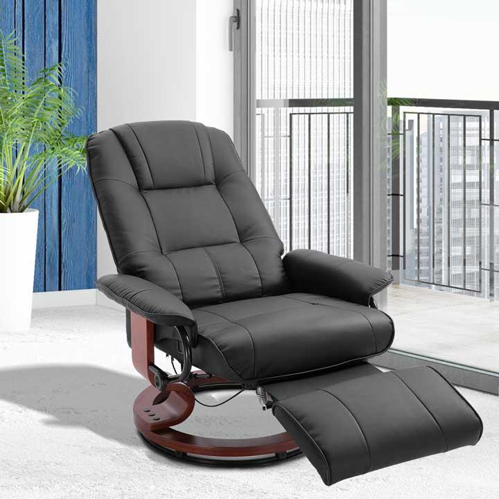 HOMCOM Ergonomic Office Recliner Sofa Chair Faux Leather Armchair Lounger