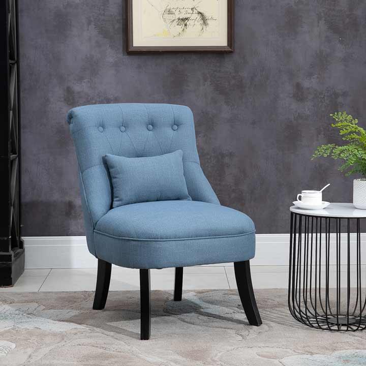 HOMCOM Fabric Single Sofa Armchair Upholstered WithPillow Wood Leg Livingroom Blue
