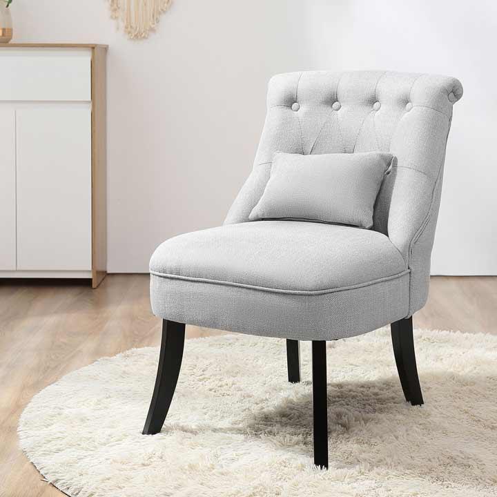 HOMCOM Fabric Single Sofa Armchair Upholstered WithPillow Wood Leg Livingroom Grey