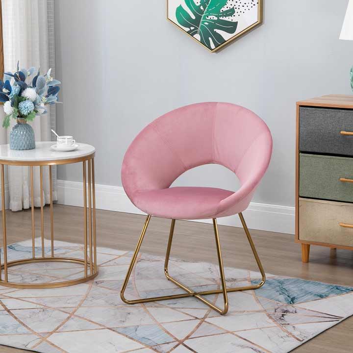 HOMCOM Modern Accent Chairs Velvet Upholstered Armchair with Gold Legs