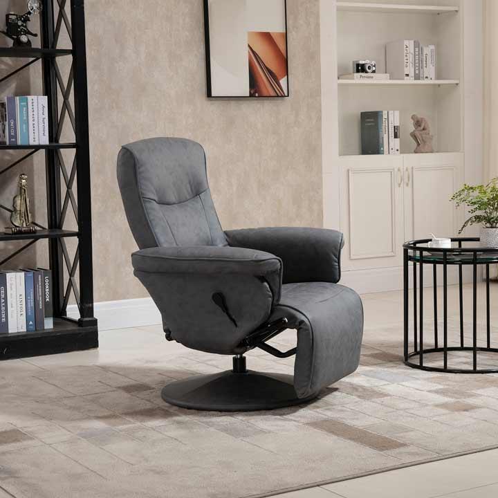 HOMCOM Swivel Recliner Chair Armchair Sofa With Footrest Padded Armrest Microfiber