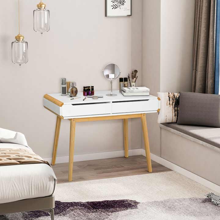 HOMCOM Dressing Table with 2 Storage Drawer Bedroom Dresser Makeup Desk White