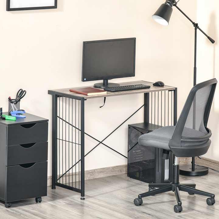 HOMCOM Folding Desk Writing Table Industrial Home Office Workstation