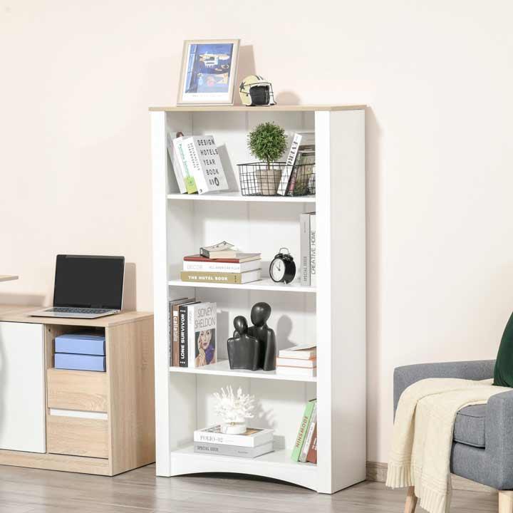 HOMCOM Modern 4 Tier Bookcase Display Unit Storage Cabinet Home Office White