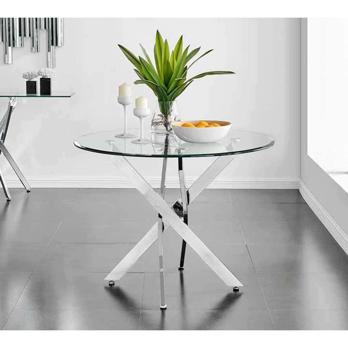 Furniture Box Novara Chrome Round Glass Dining Table