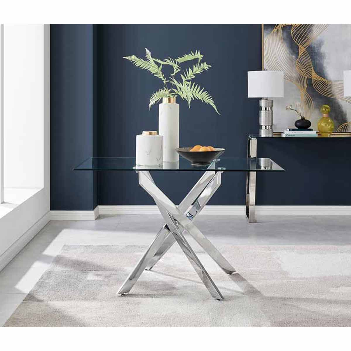 Furniture Box Leonardo 4 Seater Glass And Chrome Metal Dining Table