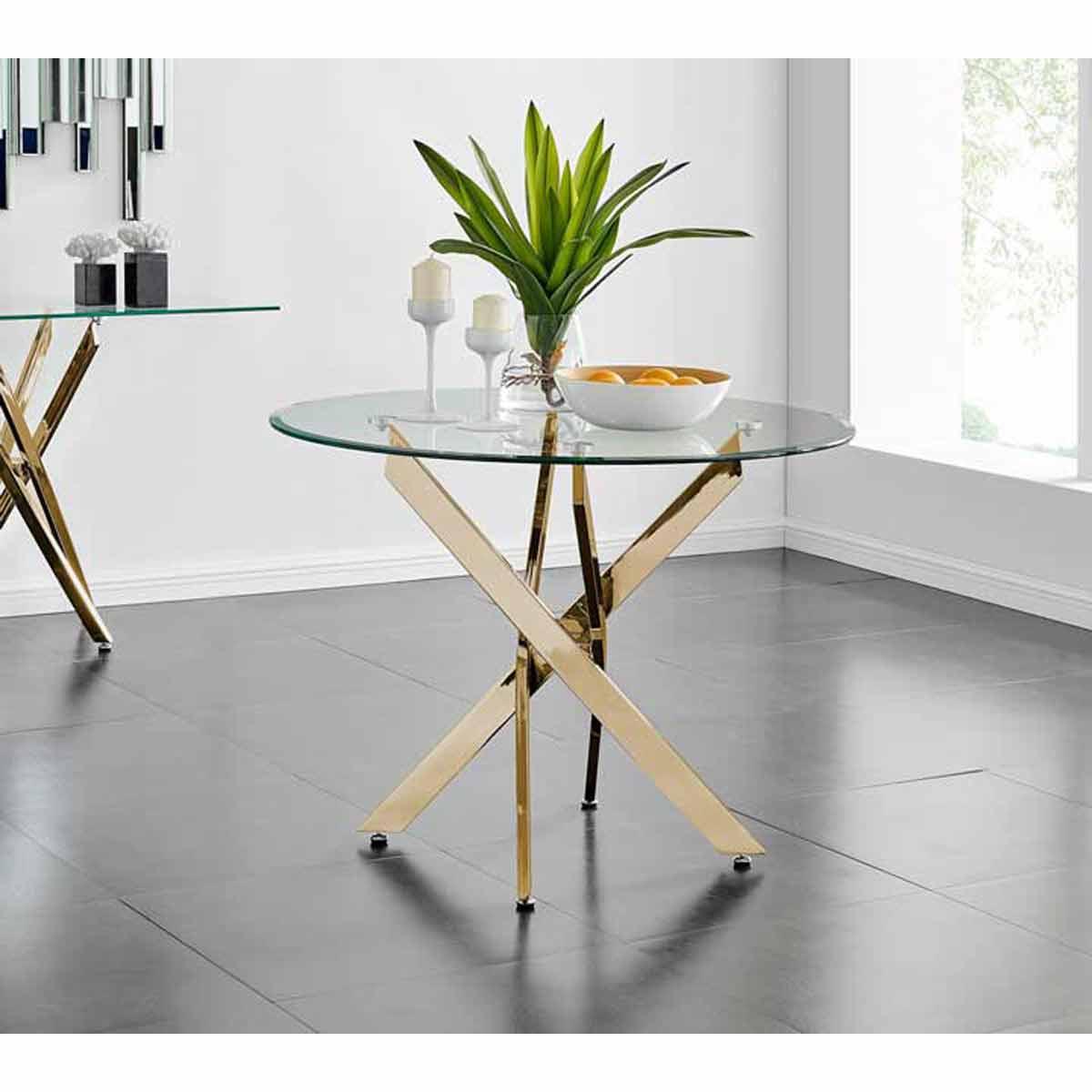 Furniture Box Novara Gold Metal 100cm Round Glass Dining Table