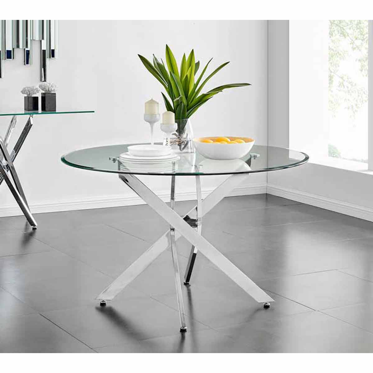 Furniture Box Novara Chrome Metal And Glass Large 120cm Round Dining Table
