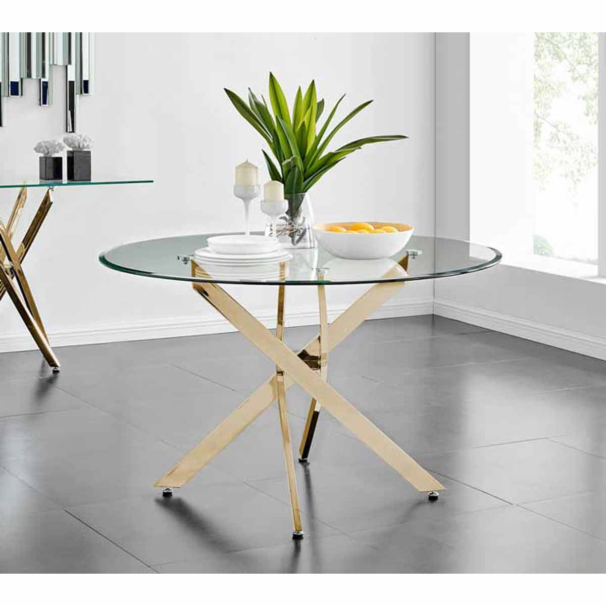 Furniture Box Novara Gold Metal And Glass Large 120cm Round Dining Table