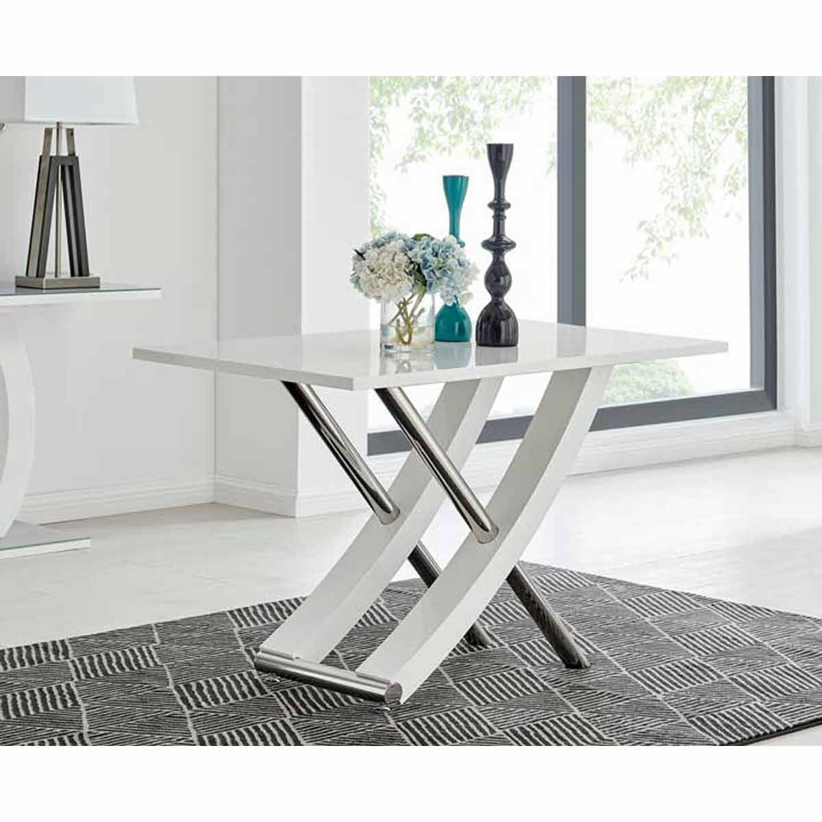 Furniture Box Mayfair 4 Seater White High Gloss And Stainless Steel Dining Table