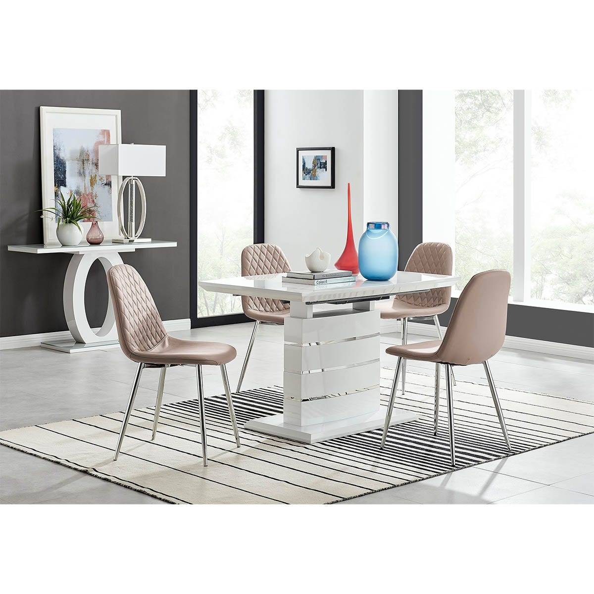 Furniture Box Renato 120cm High Gloss Extending Dining Table and 4 Cappuccino Corona Silver Leg Chairs