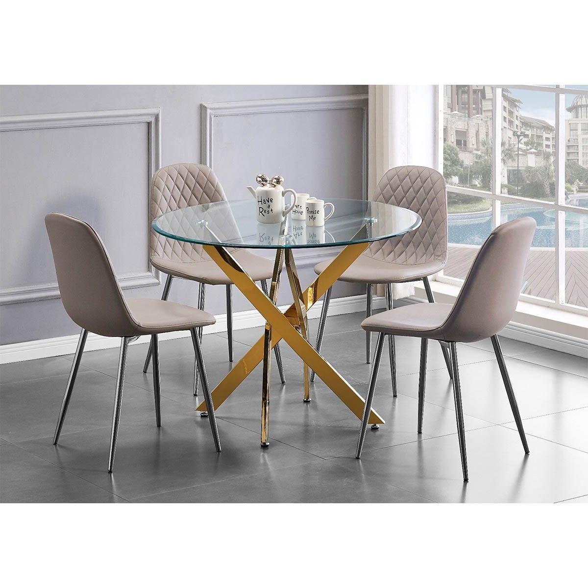 Furniture Box Novara Gold Metal Round Glass Dining Table And 4 Cappuccino Grey Corona Silver Dining Chairs