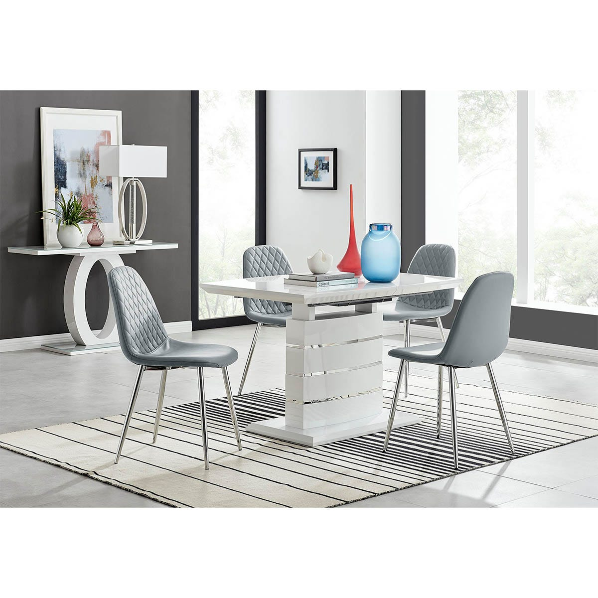 Furniture Box Renato 120cm High Gloss Extending Dining Table and 4 Grey Corona Silver Leg Chairs