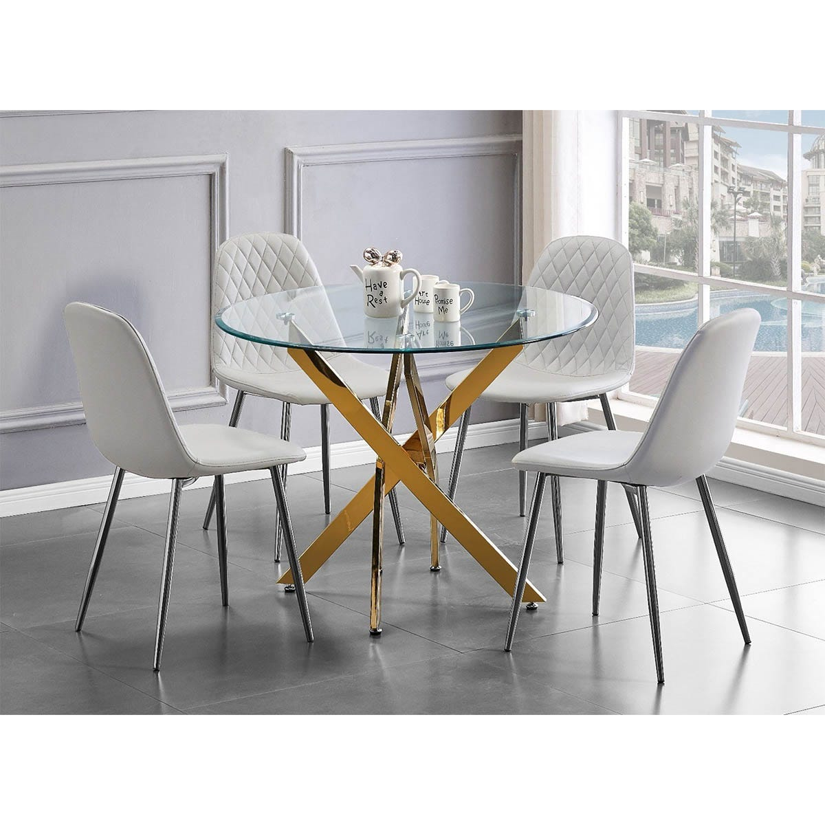 Furniture Box Novara Gold Metal Round Glass Dining Table And 4 White Corona Silver Dining Chairs