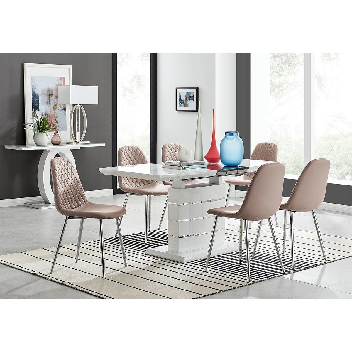 Furniture Box Renato 120cm High Gloss Extending Dining Table and 6 Cappuccino Corona Silver Leg Chairs
