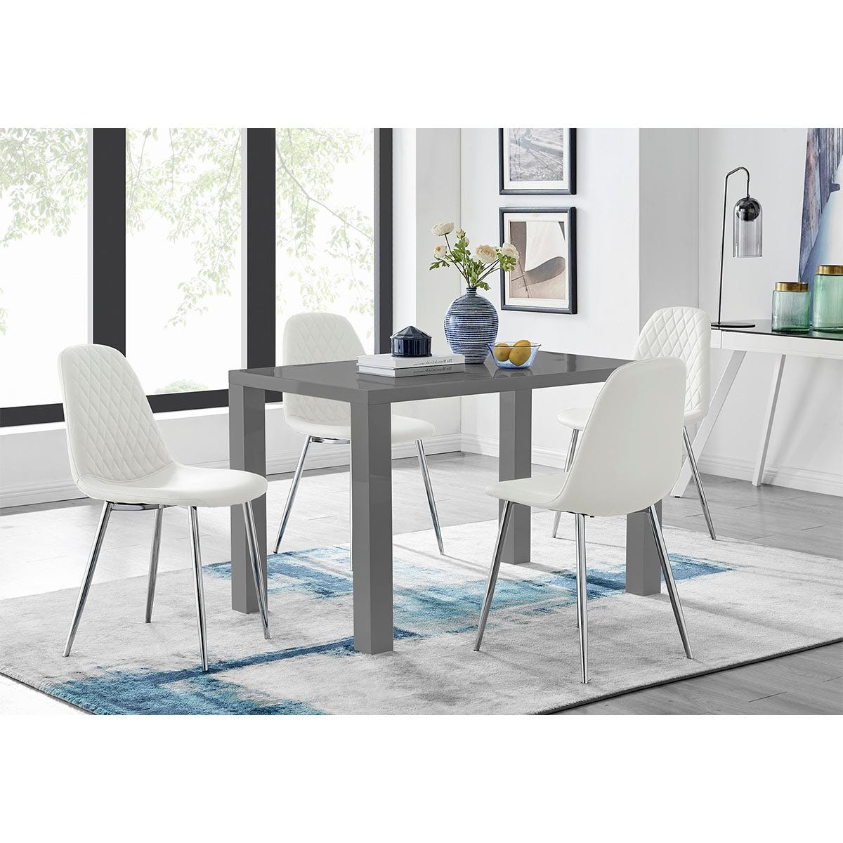 Furniture Box Pivero Grey High Gloss Dining Table And 4 White Corona Silver Chairs Set