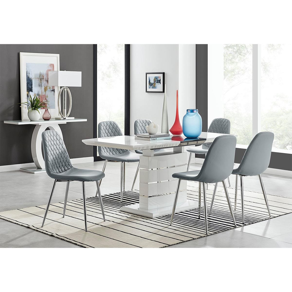 Furniture Box Renato 120cm High Gloss Extending Dining Table and 6 Grey Corona Silver Leg Chairs