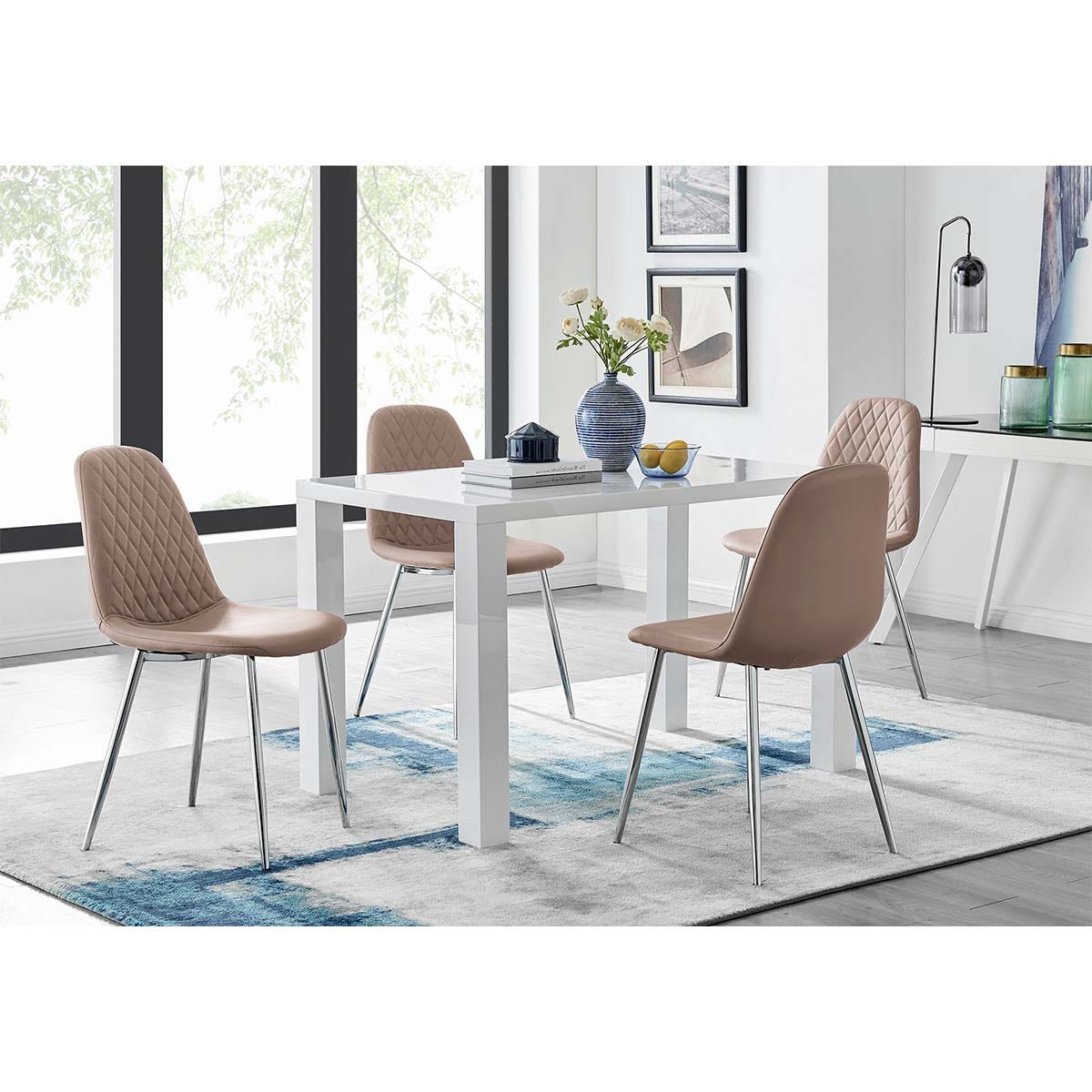 Furniture Box Pivero White High Gloss Dining Table And 4 Cappuccino Grey Corona Silver Chairs Set