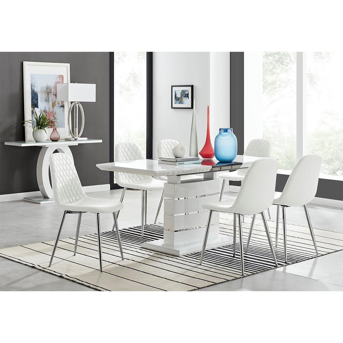 Furniture Box Renato 120cm High Gloss Extending Dining Table and 6 White Corona Silver Leg Chairs