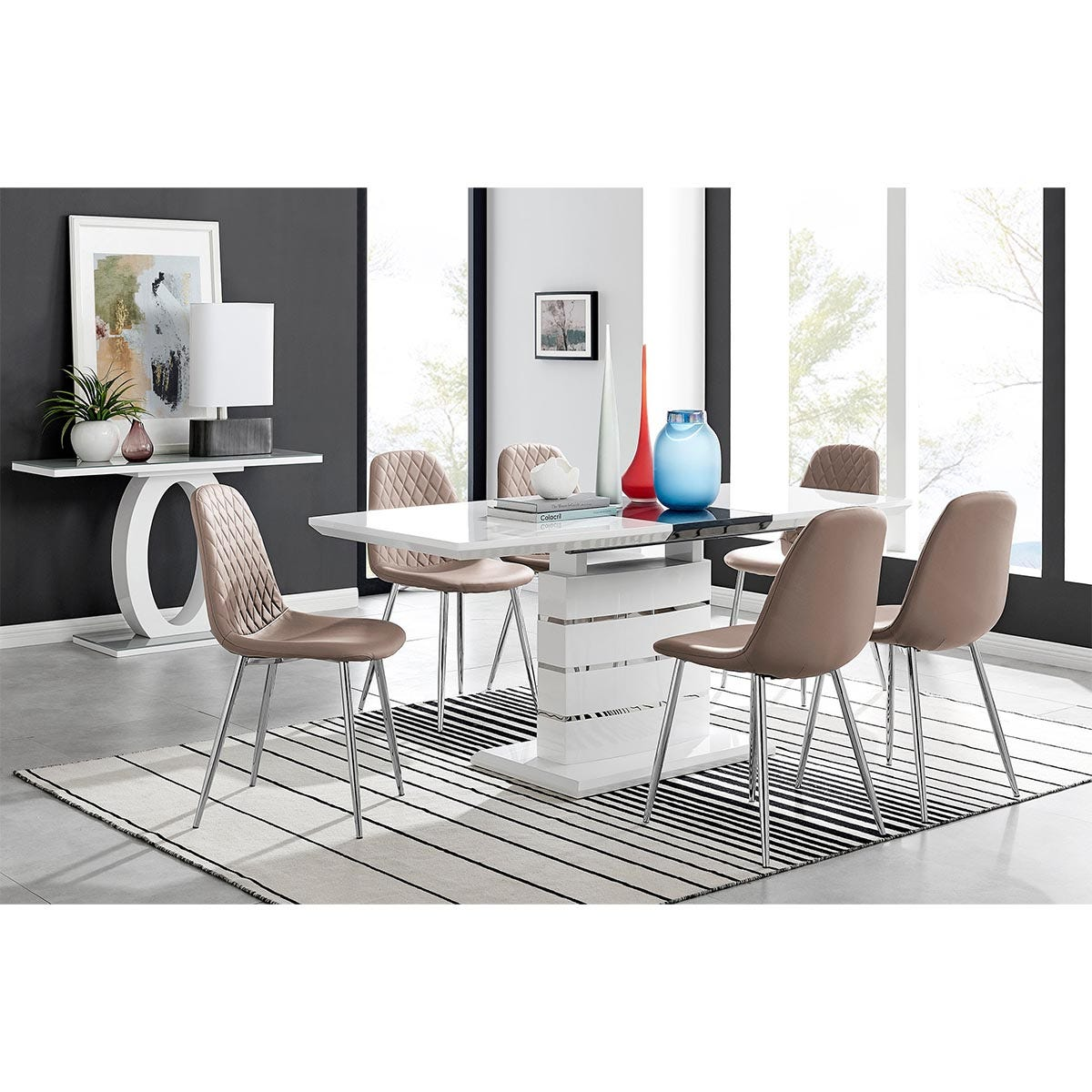 Furniture Box Renato High Gloss Extending Dining Table and 6 Cappuccino Corona Silver Leg Chairs