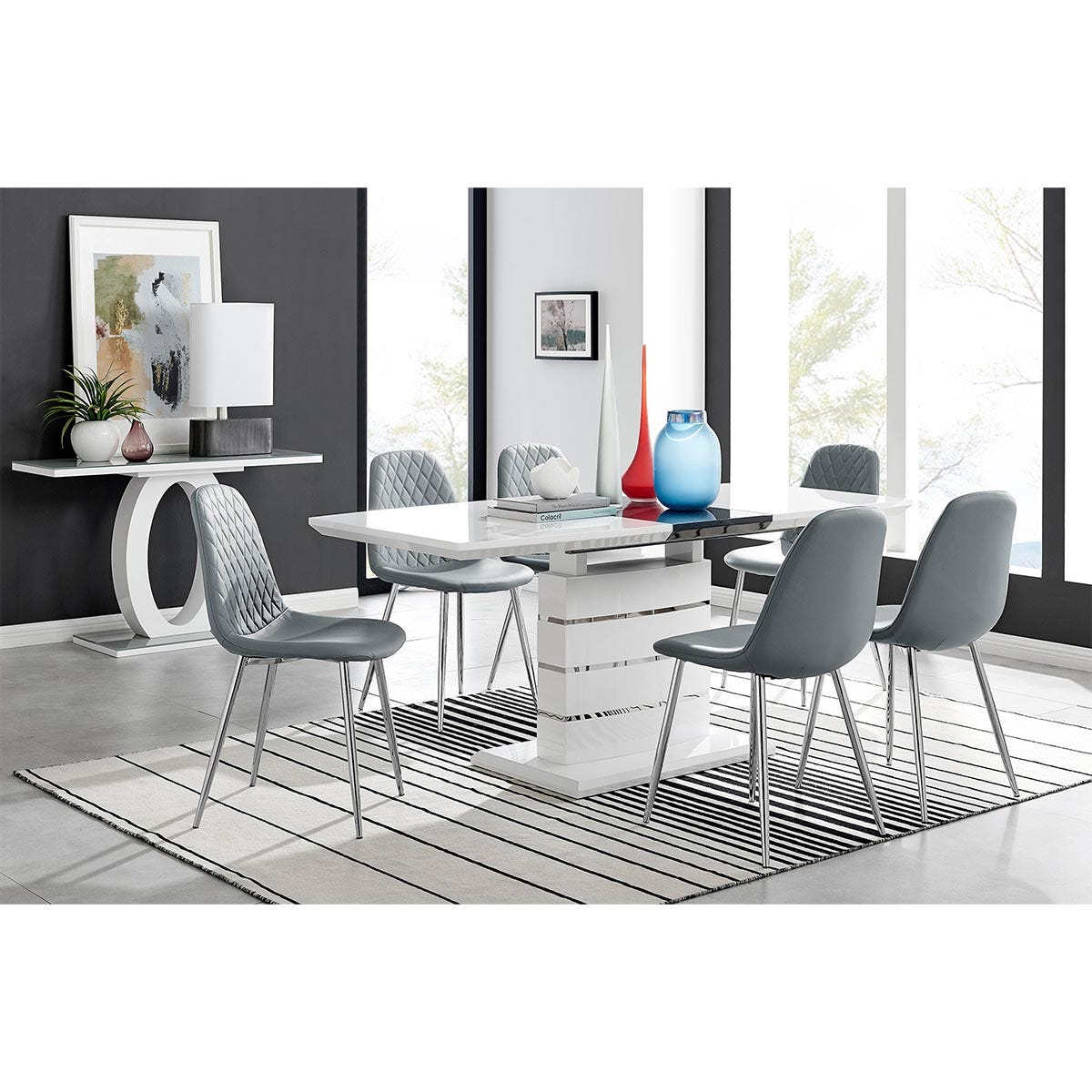 Furniture Box Renato High Gloss Extending Dining Table and 6 Grey Corona Silver Leg Chairs
