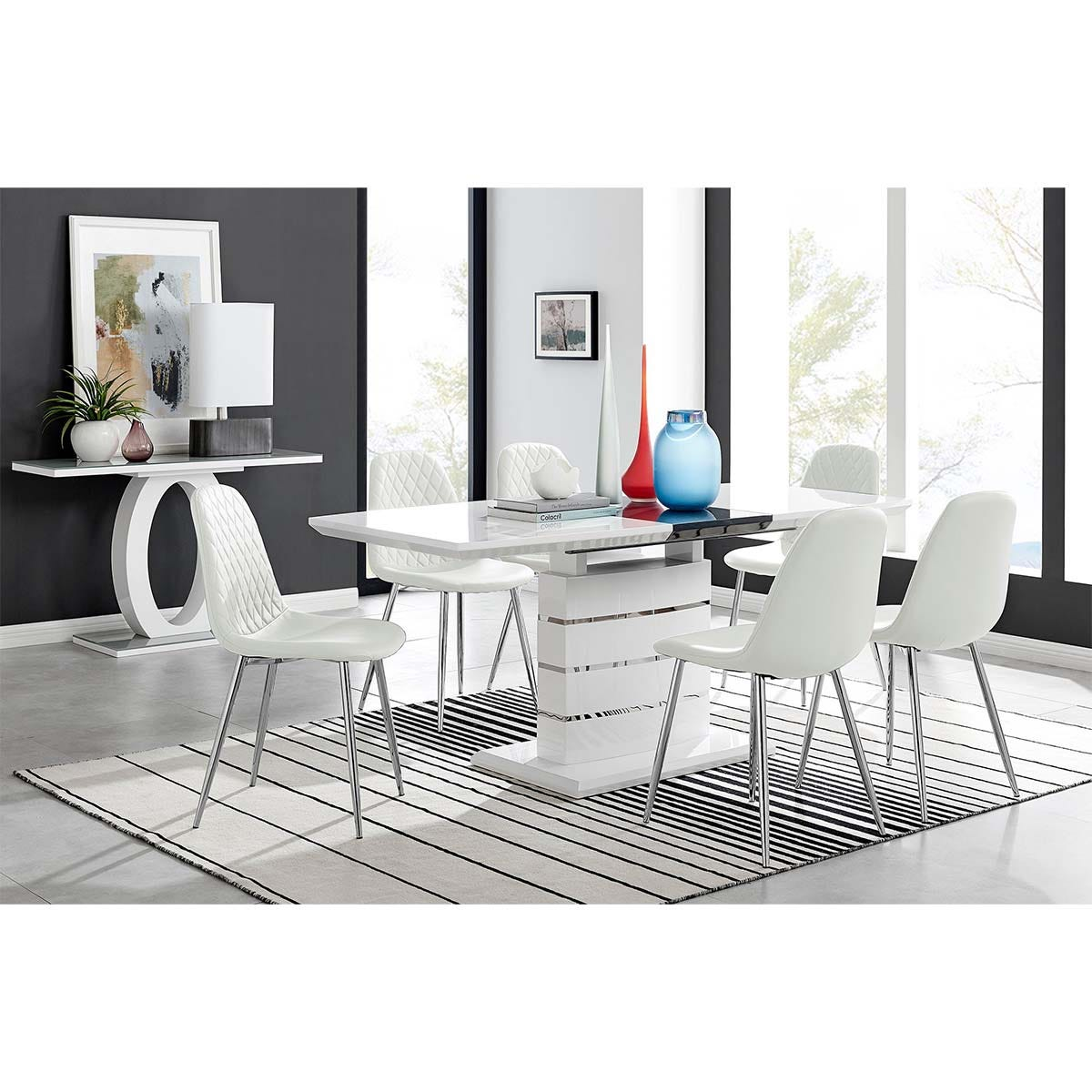 Furniture Box Renato High Gloss Extending Dining Table and 6 White Corona Silver Leg Chairs