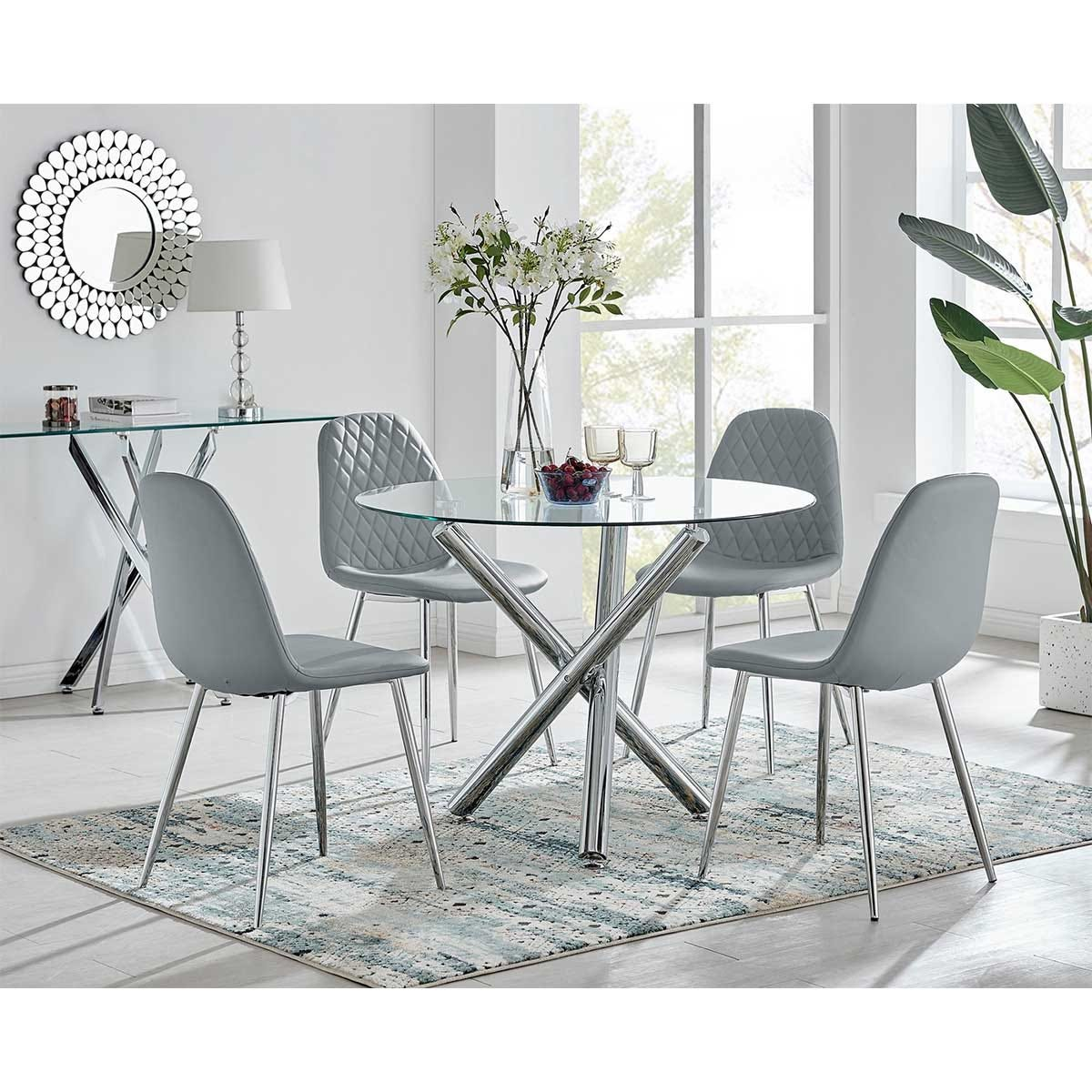 Furniture Box Selina Round Dining Table and 4 Grey Corona Silver Leg Chairs