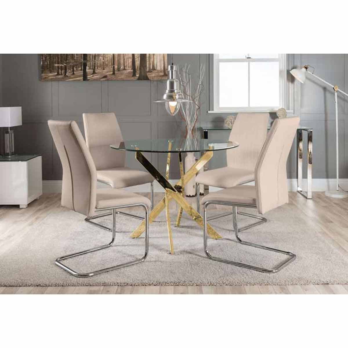Furniture Box Novara Gold Metal Round Glass Dining Table And 4 Cappuccino Grey Lorenzo Dining Chairs